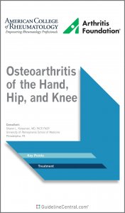 ACR Osteoarthritis of the Hand, Hip, and Knee Guidelines Pocket Guide Cover